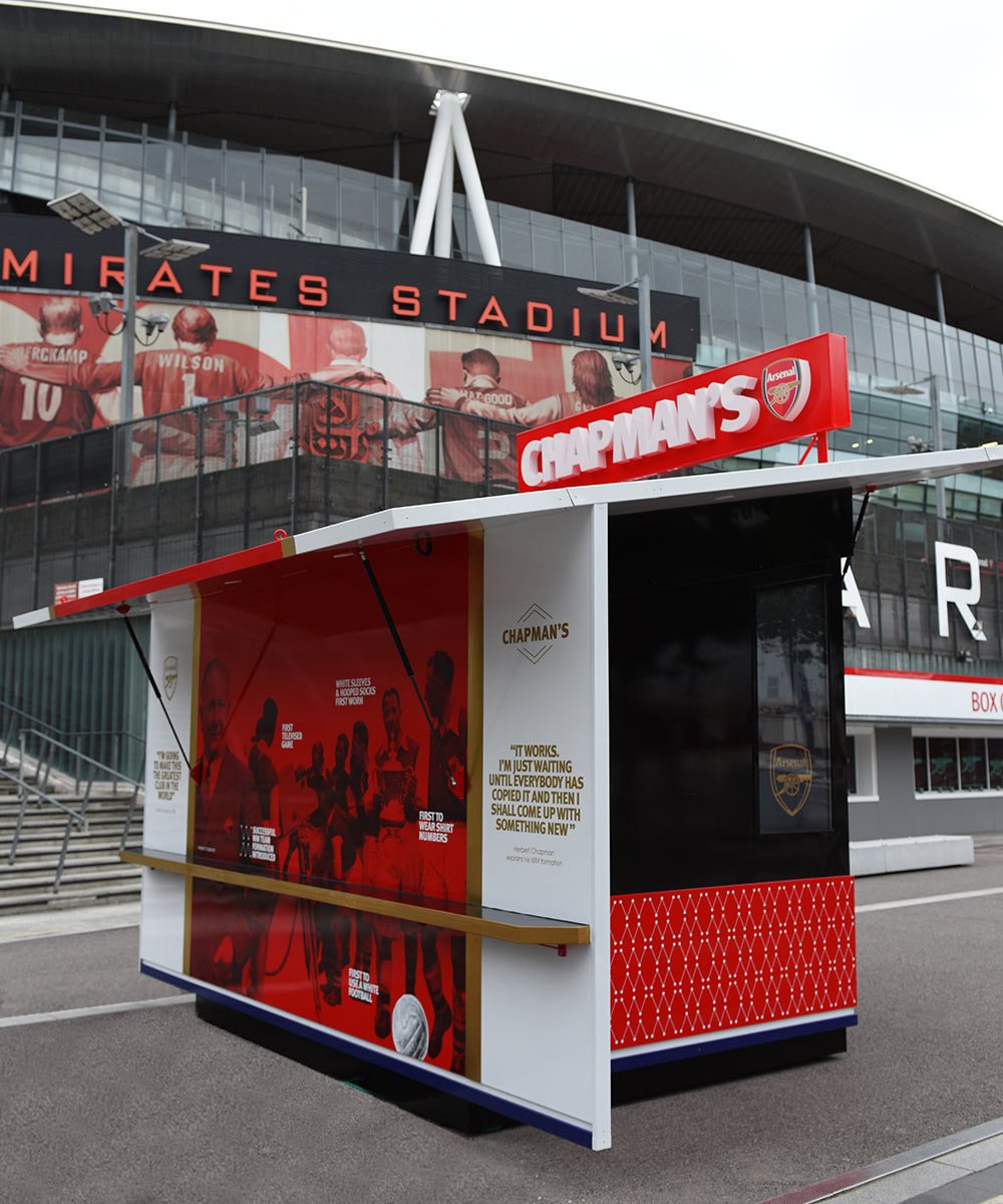 Arsenal FC Chapmans Kiosk With Emirates Stadium in background