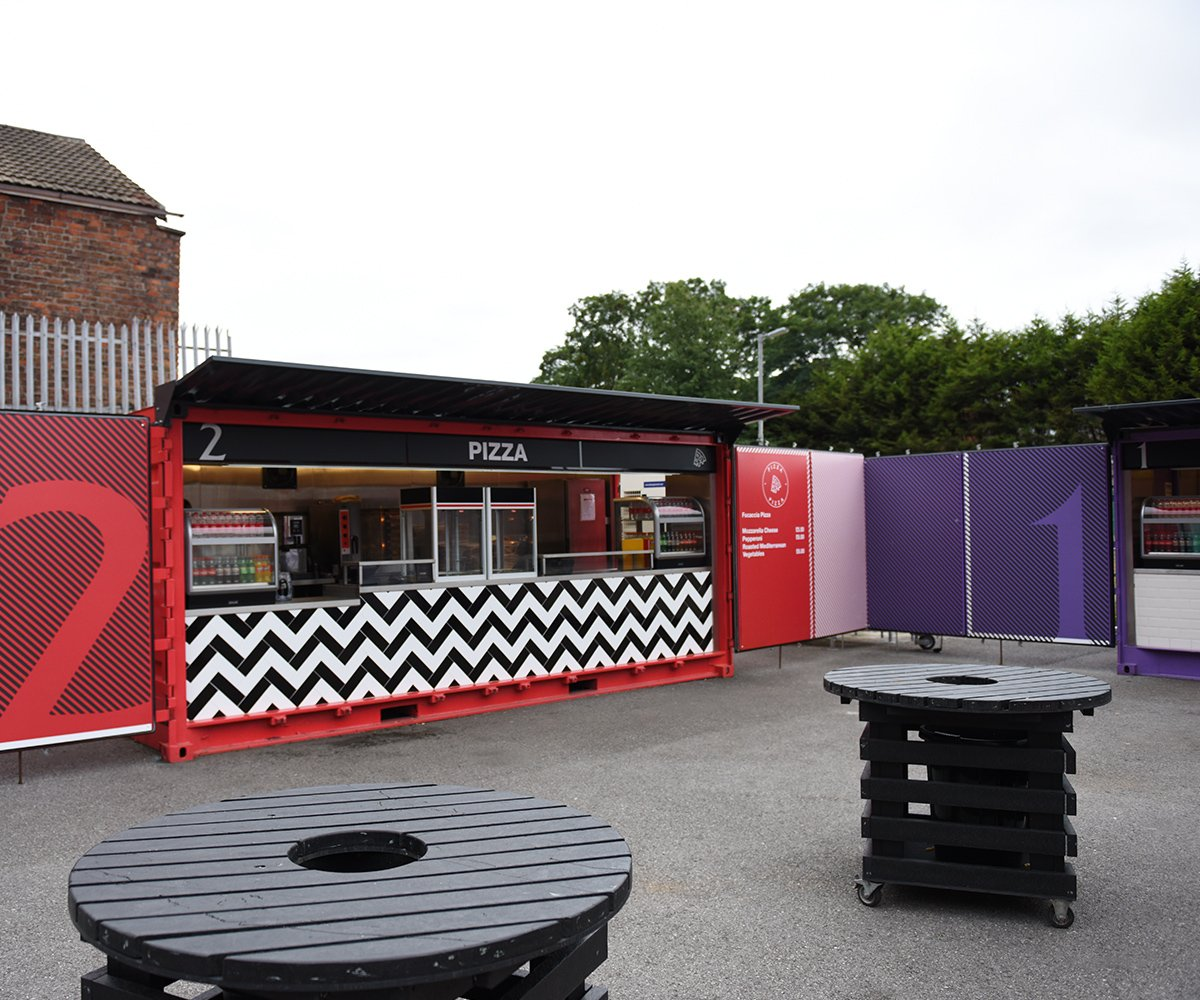 Liverpool FC shipping container food kiosks--Shipping-Container - Pizza container before