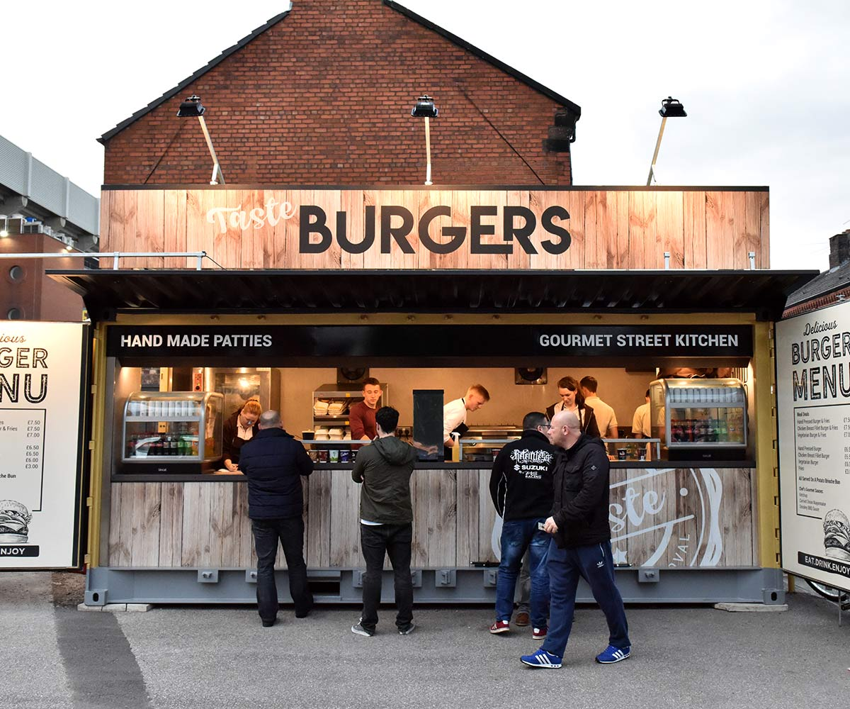 Liverpool FC shipping container food kiosks--Shipping-Container - Taste Burgers hand made patties