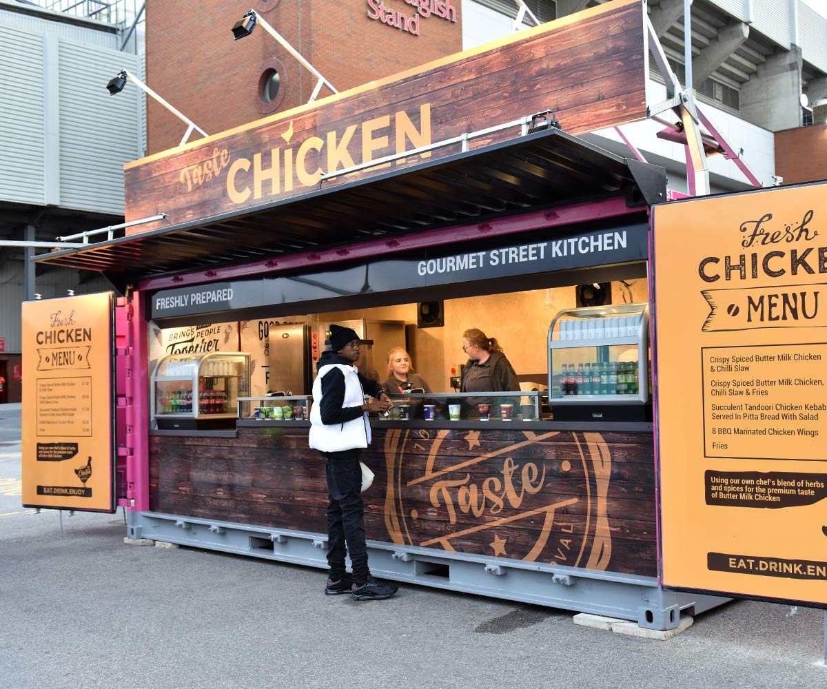 Liverpool FC shipping container food kiosks--Shipping-Container - Taste chicken