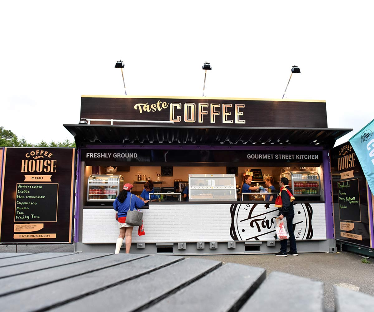 Liverpool FC shipping container food kiosks--Shipping-Container - Taste Coffee Serving Food