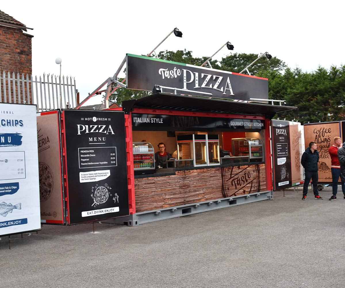 Liverpool FC shipping container food kiosks--Shipping-Container - Taste Pizza Serving Food