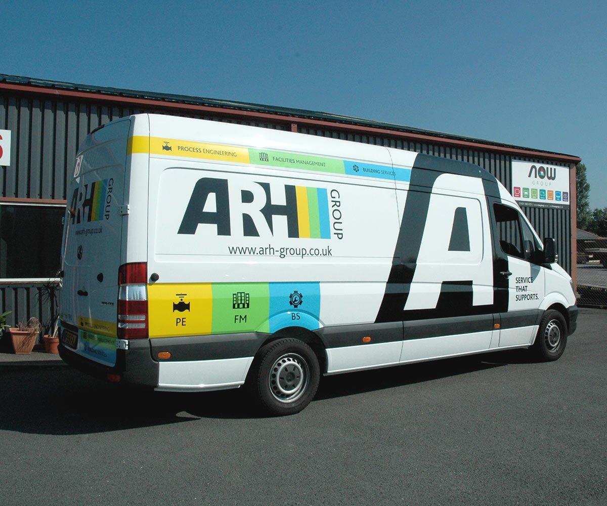 ARH Group Mercedes Sprinter vehicle graphics- partial wrap