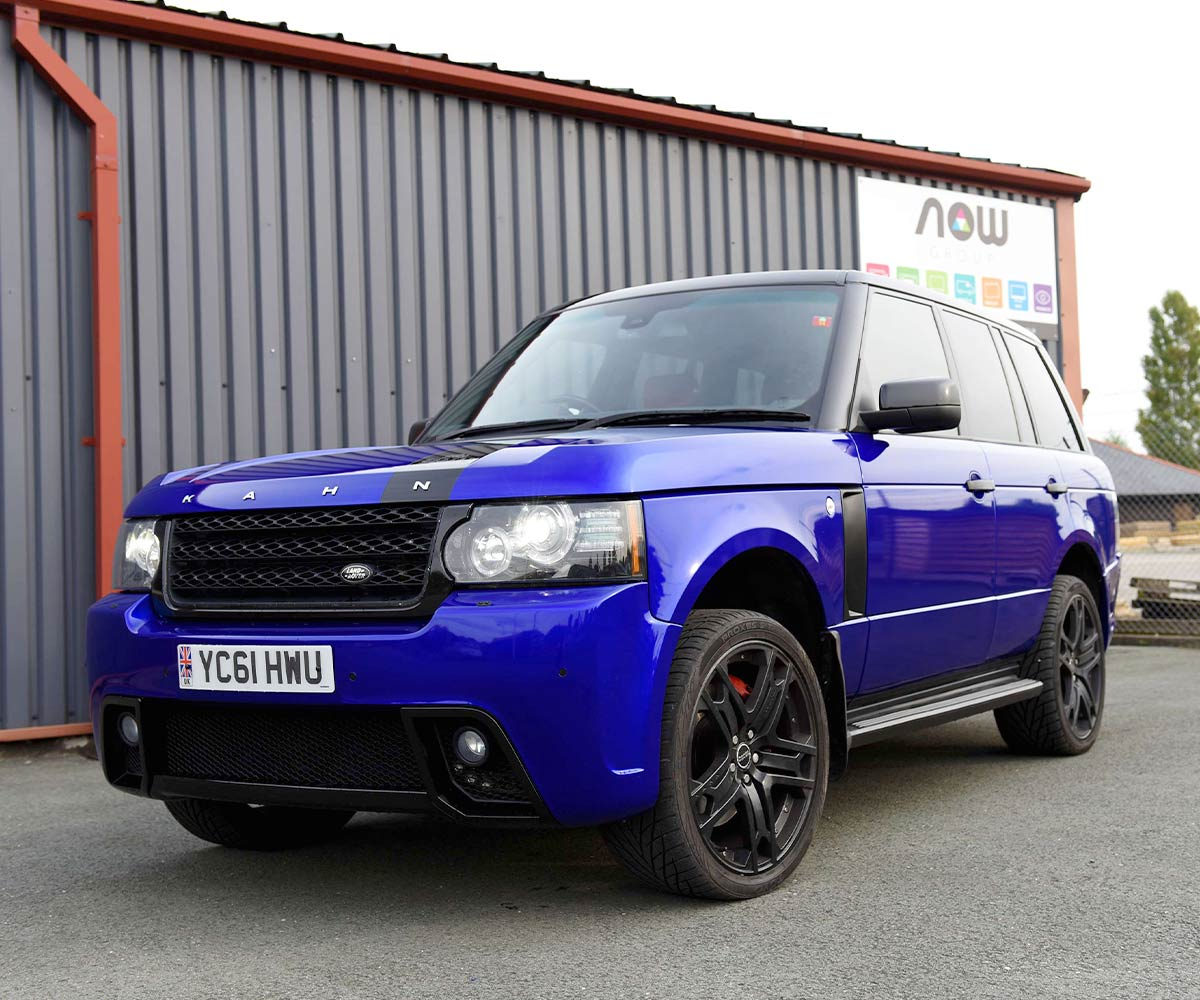 Range Rover Kahn Blue vehicle wrap