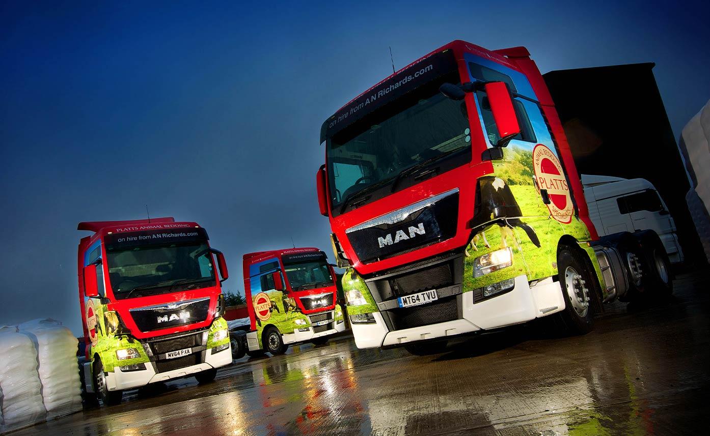 Platts Animal Bedding HGV Lorry livery HGV wrap truck fleet
