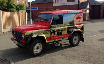 Platts Animal Bedding Vehicle wrap truck land rover