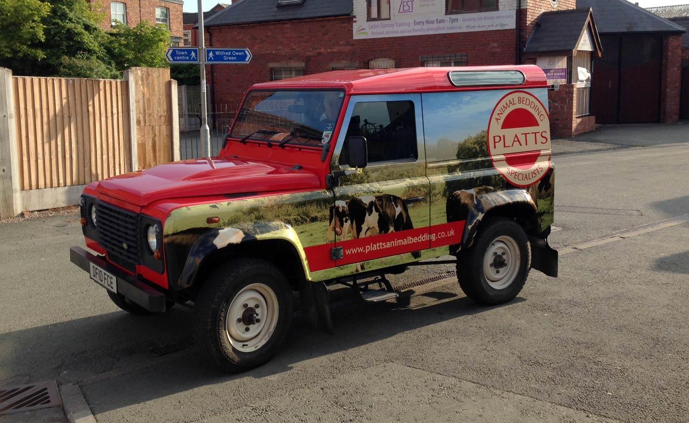 Platts Animal Bedding Vehicle wrap truck land rover