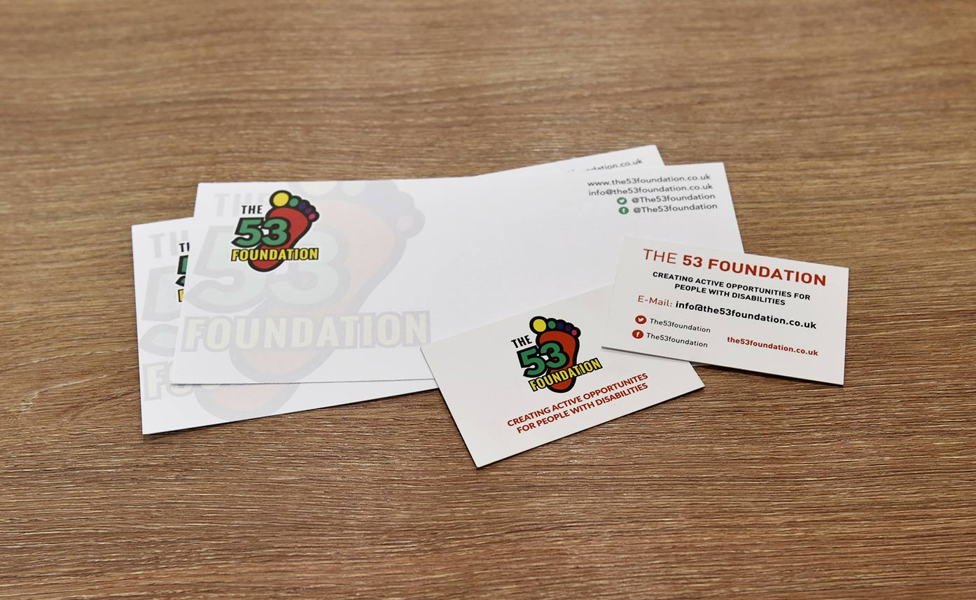 The 53 Foundation printed stationery compliment slips and business cards