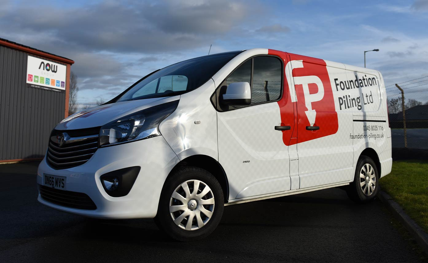Foundation Piling Vehicle Wrap - White Vauxhall Vivaro Vehicle Wrap