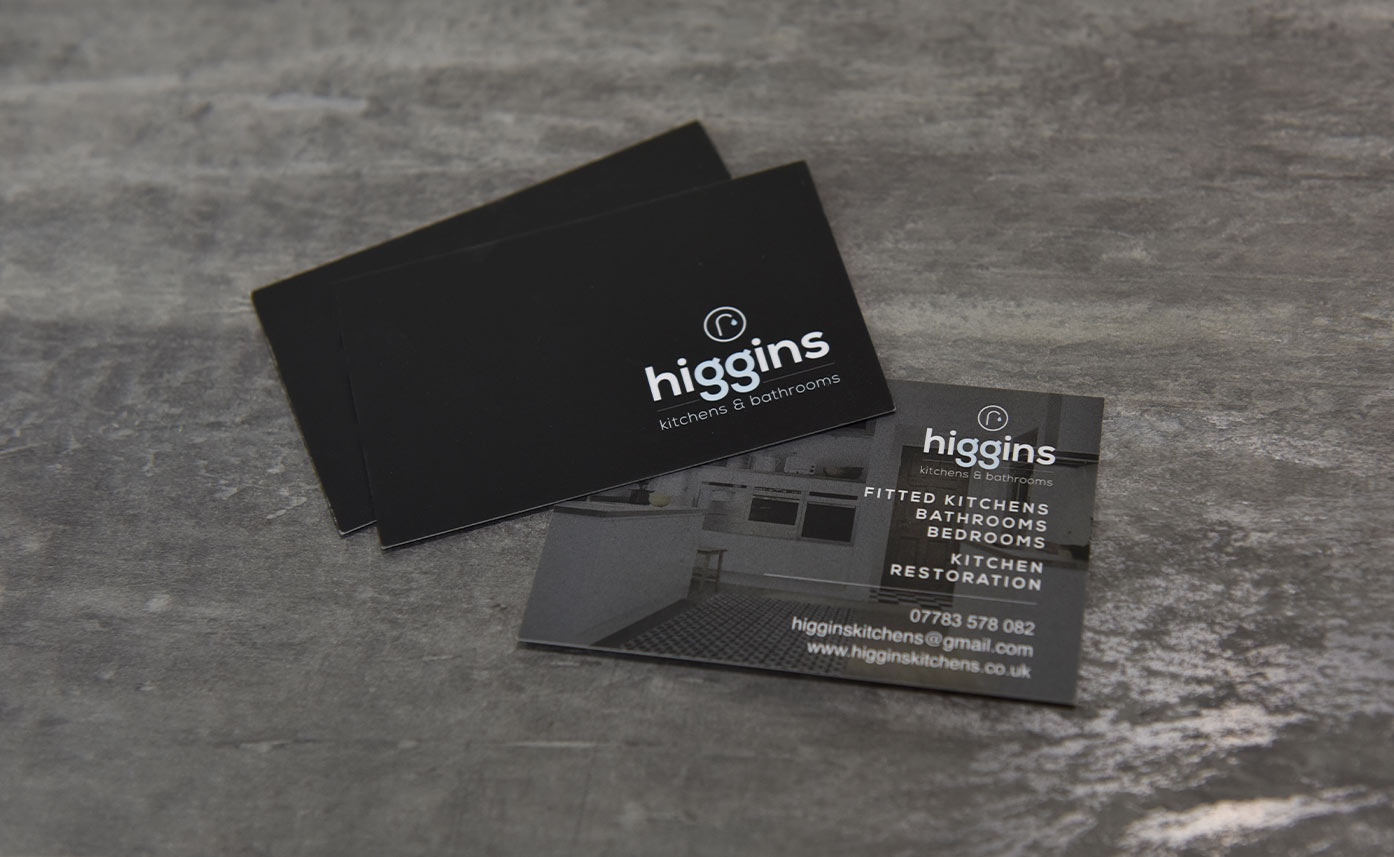 Higgins Kitchen and Bathrooms - construction print - printed business cards