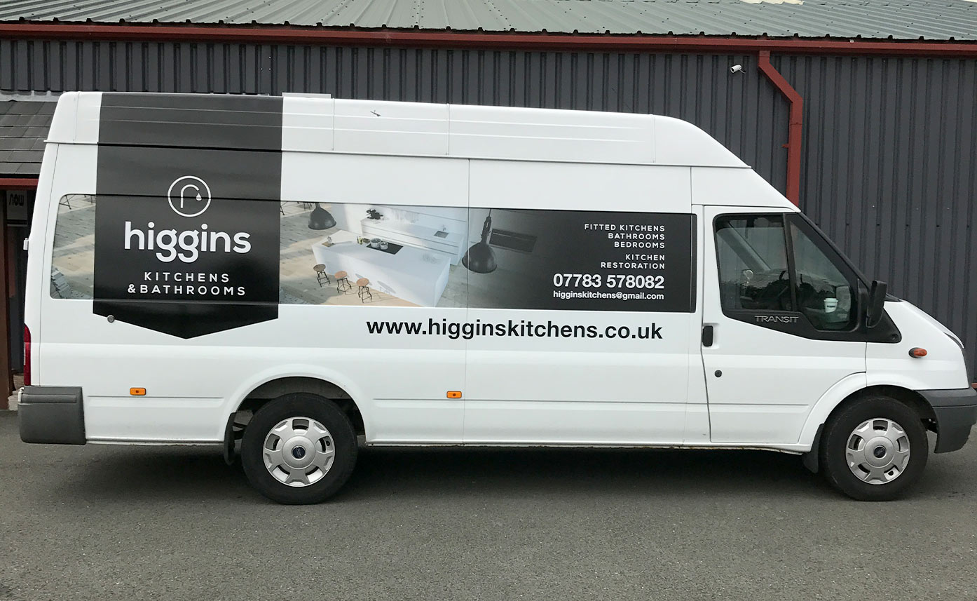 Construction vehicle wrap - Higgins Kitchens Transit Wrap