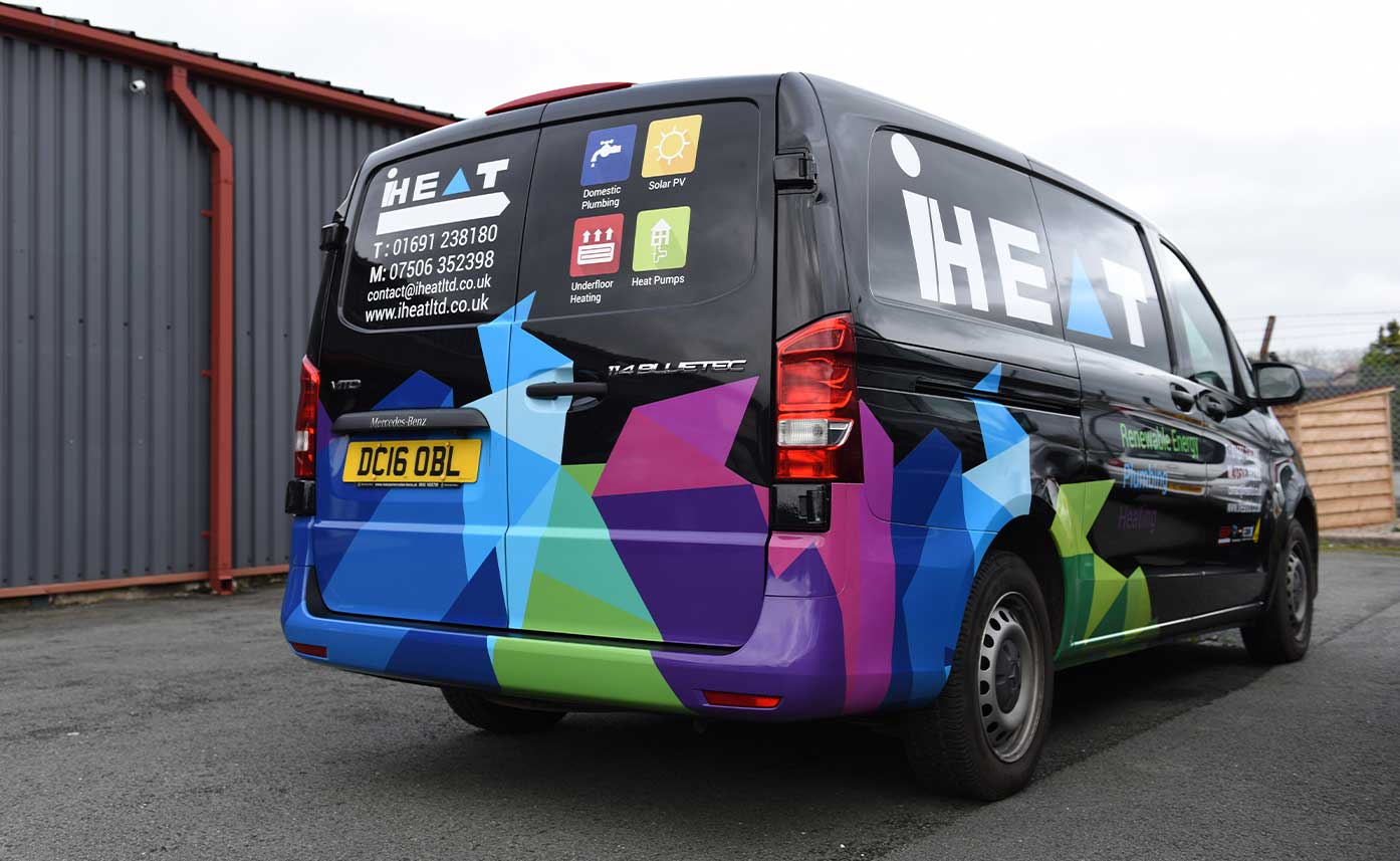 iHeat Oswestry vehicle wrap - Mercedes Vito Wrap - Plumbers Vehicle Wrap
