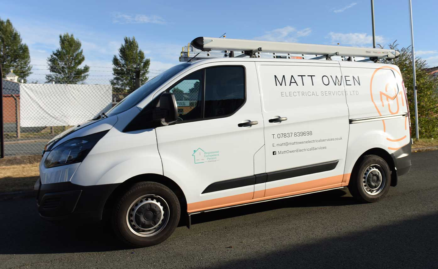 Matt Owen Electrical Vehicle wrap - Electrician Vehicle Wrap - Transit Custom wrap