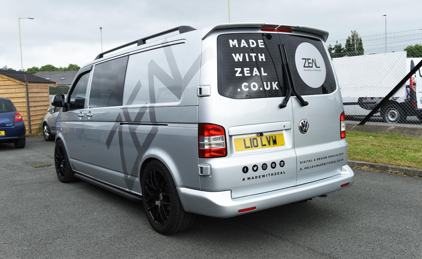 Made With Zeal Vehicle Livery Vehicle Wrap - Wrap to silver VW Transporter