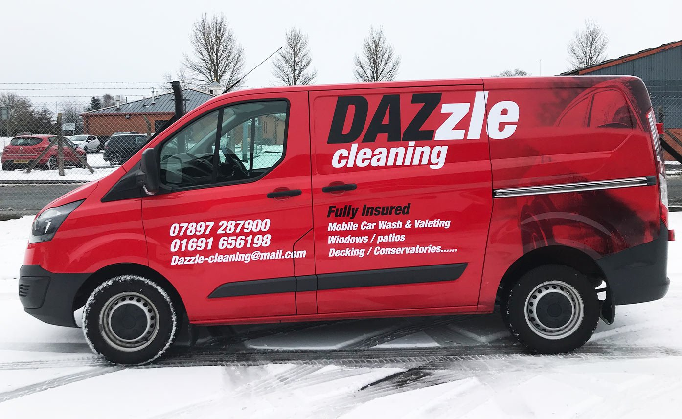 Dazzle Cleaning Red Vehicle Wrap Transit Custom Wrap