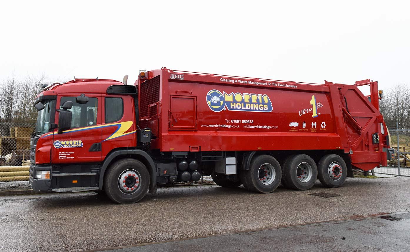 Scania R580 vehicle graphics - Morris Holdings Bin Wagon