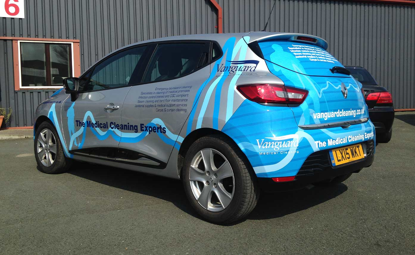 Vanguard Cleaning Renault Clio vehicle wrap