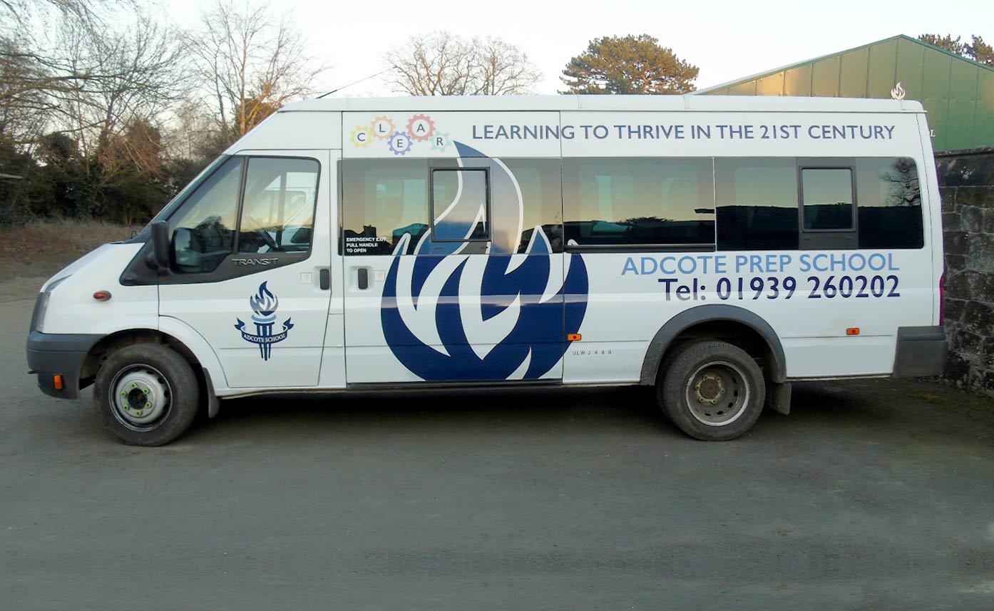 Adcote School Printed Ford Transit Wrap