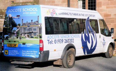 Adcote School Minibus Wrap - Ford Transit wrap
