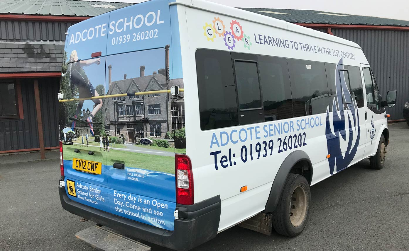 Printed Vehicle Wrap to Transit Custom - Adcote School