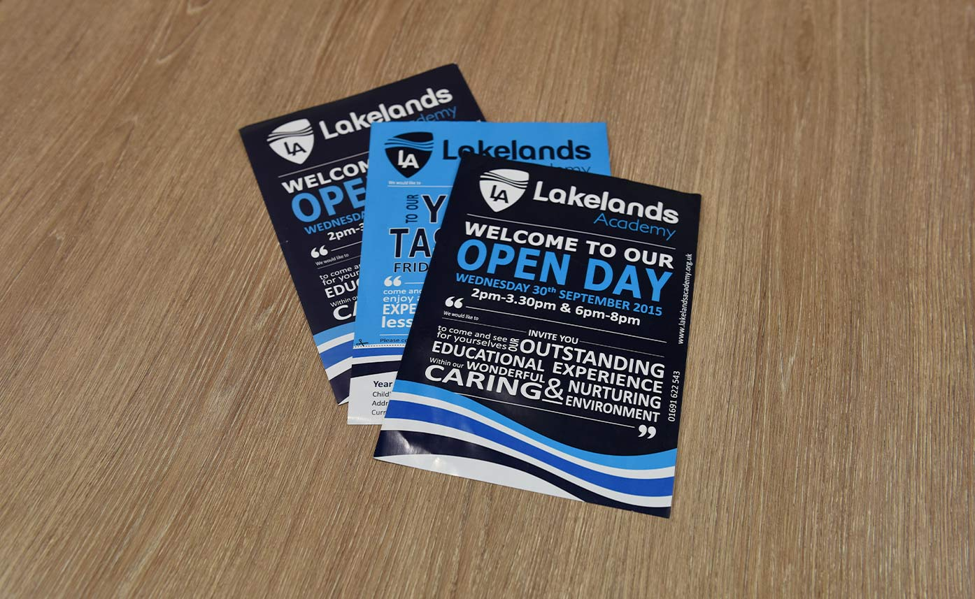 Lakelands Academy Oswestry Flyers - printed promotional materials