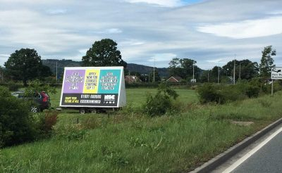 North Shropshire College Advertising Trailer - Roadside Advertising in Oswestry - Four Crosses