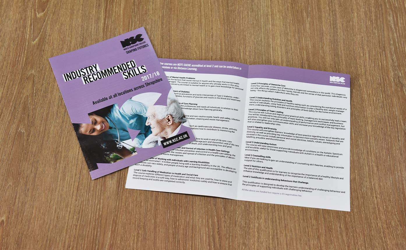 North Shropshire College Printed Flyers - NSC Oswestry
