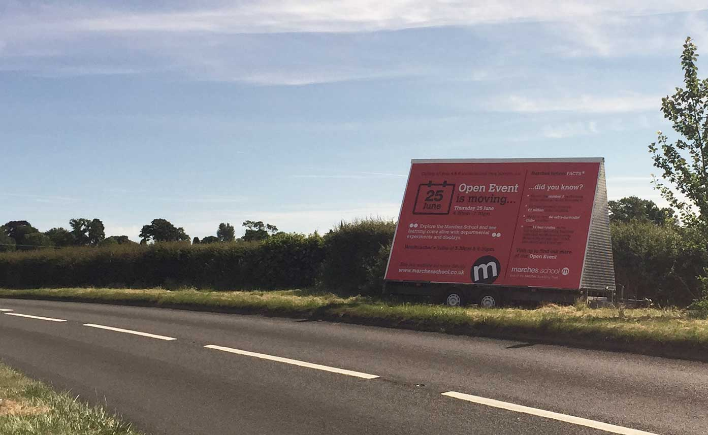 Marches School Advertising Trailer - Roadside Advertising in Oswestry