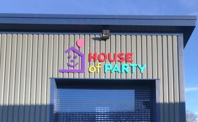 House of Party Signage - Colourful building signs