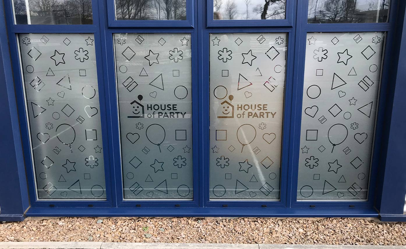 House of party window etch - glass etch