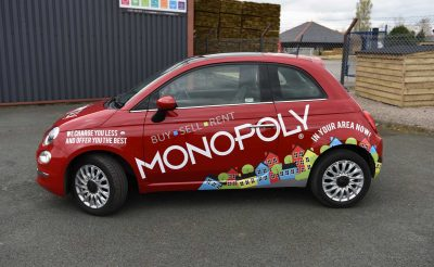 Monopoly Estate Agents Fiat 500 Red Wrap