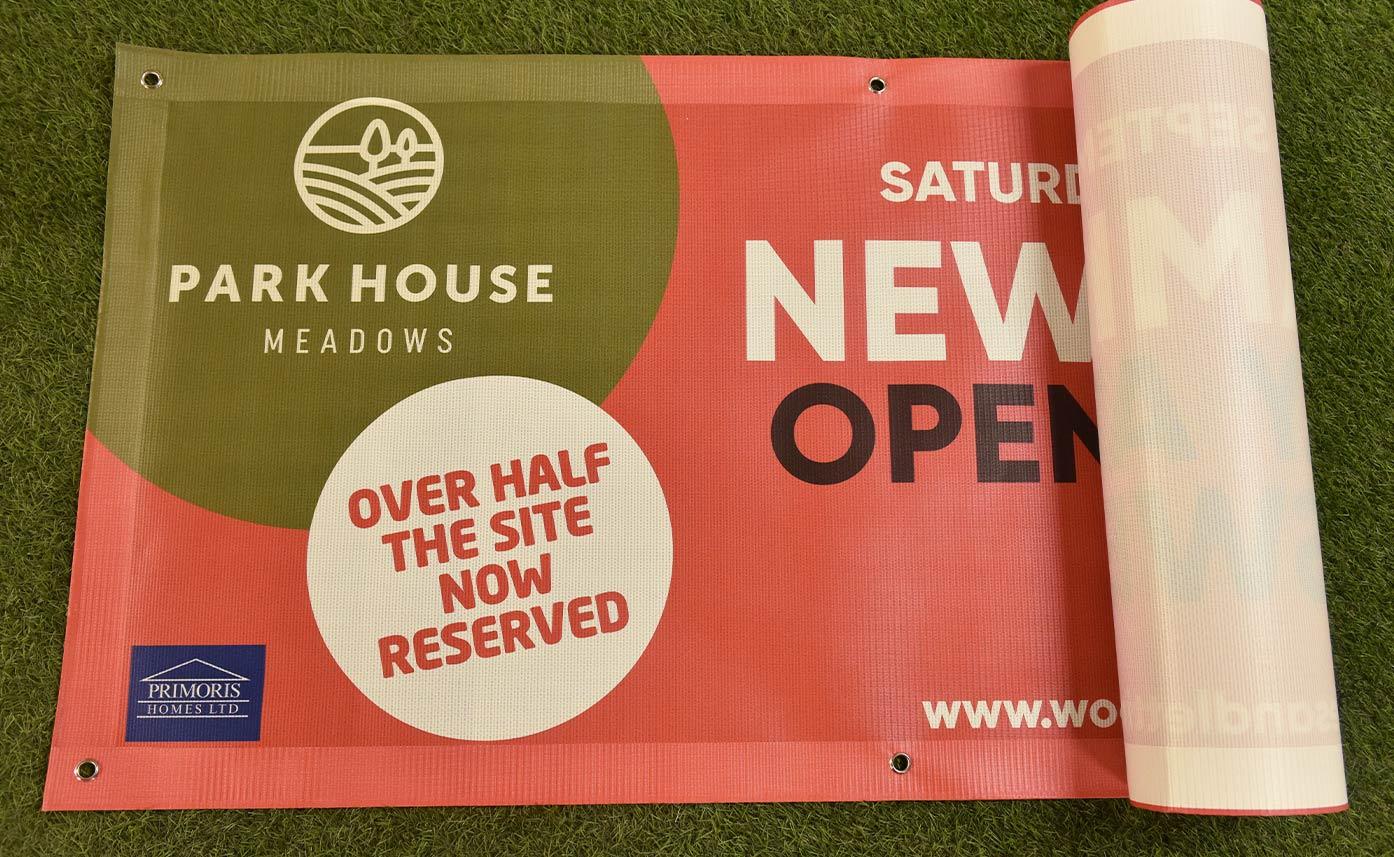 Woodhead Estates Printed Mesh Banner - Park Meadows Oswestry