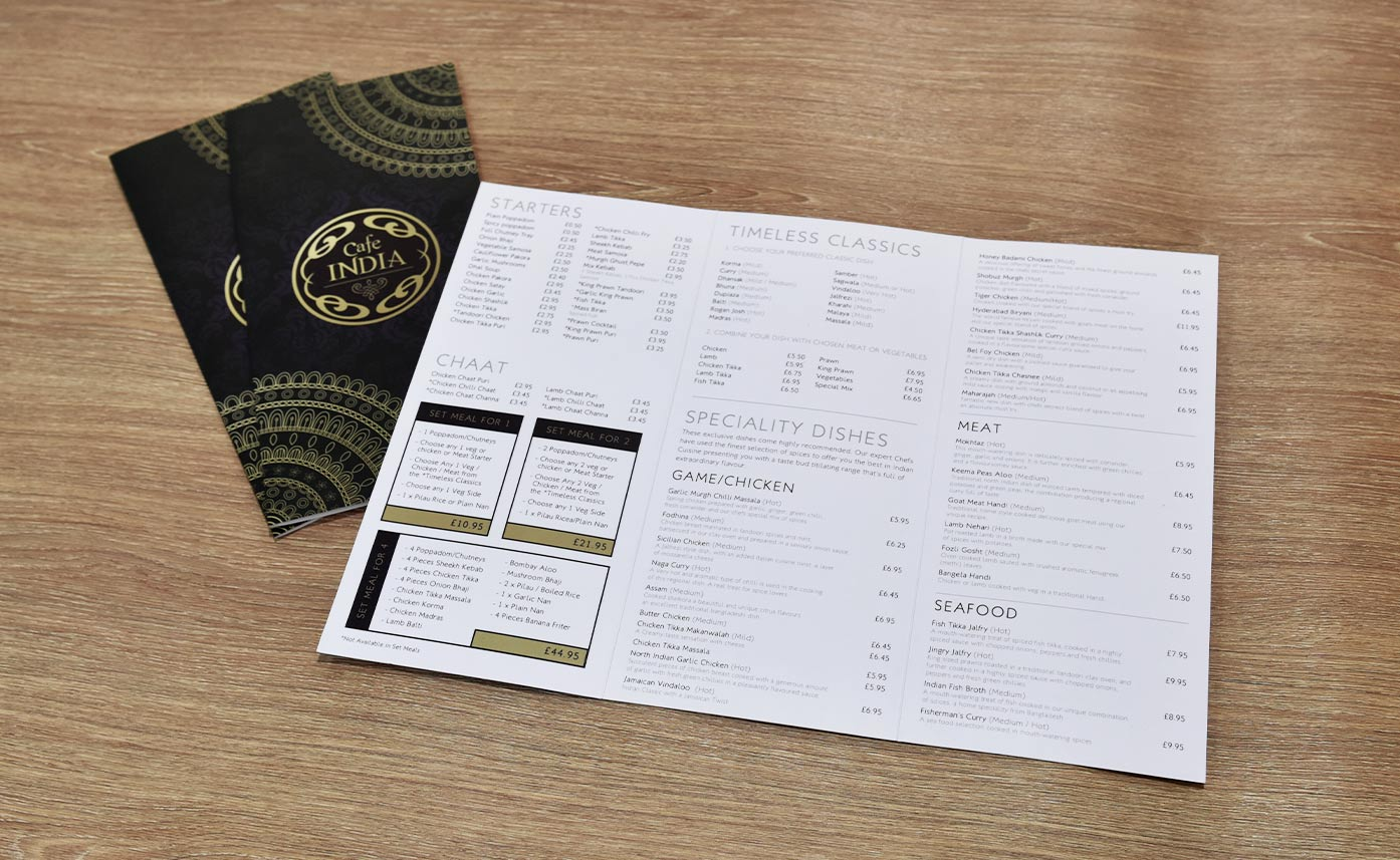 Cafe India folded menus printing