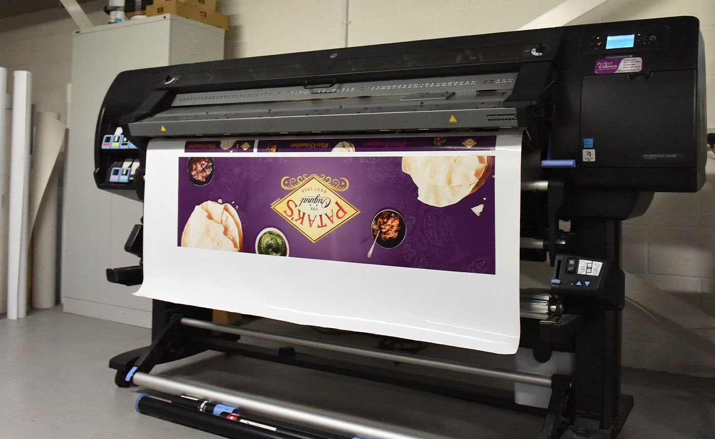 Pataks printed banner - HP printer wide format printing Oswestry
