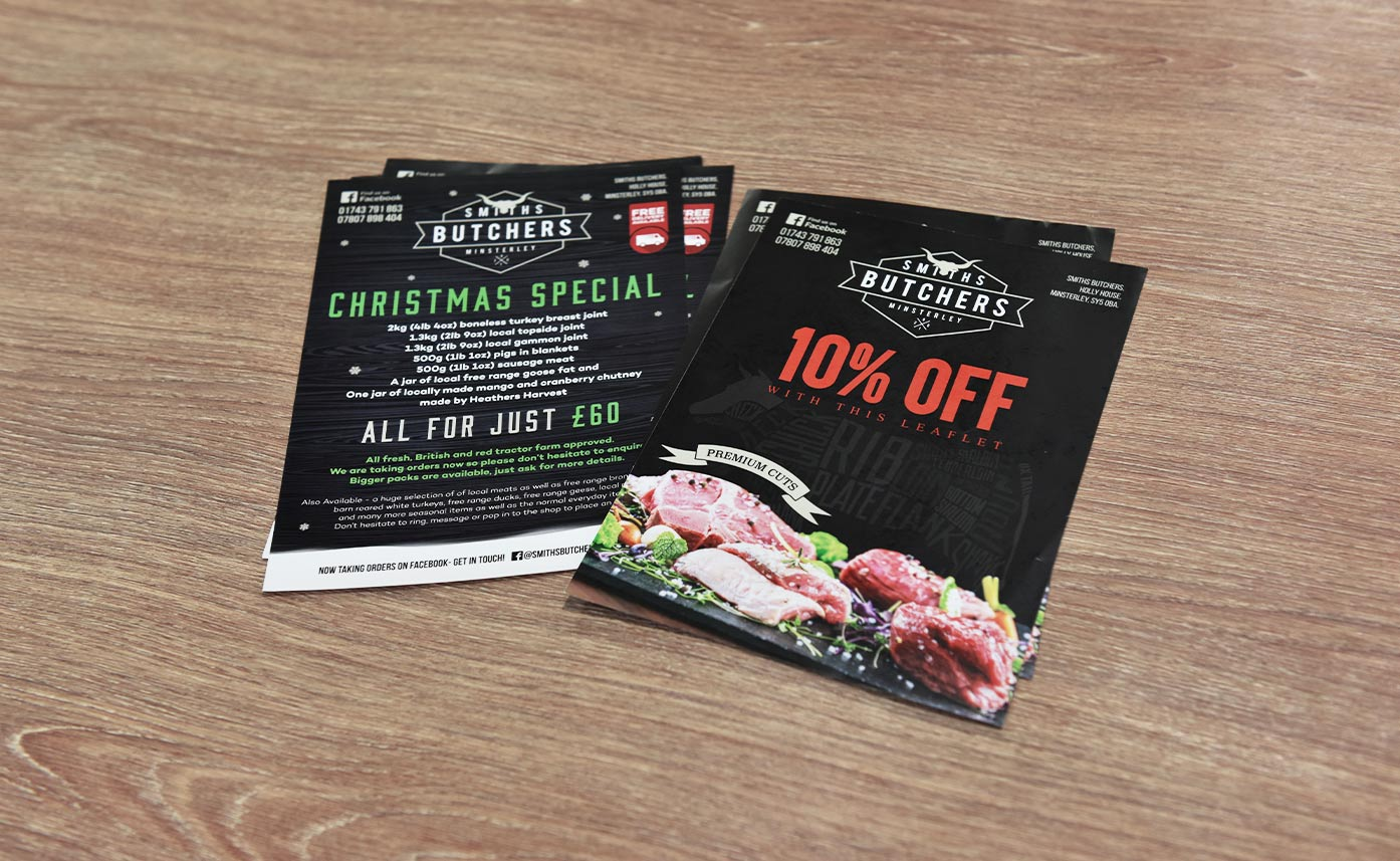 Smiths Butchers Flyers - printed promotional flyers Oswestry