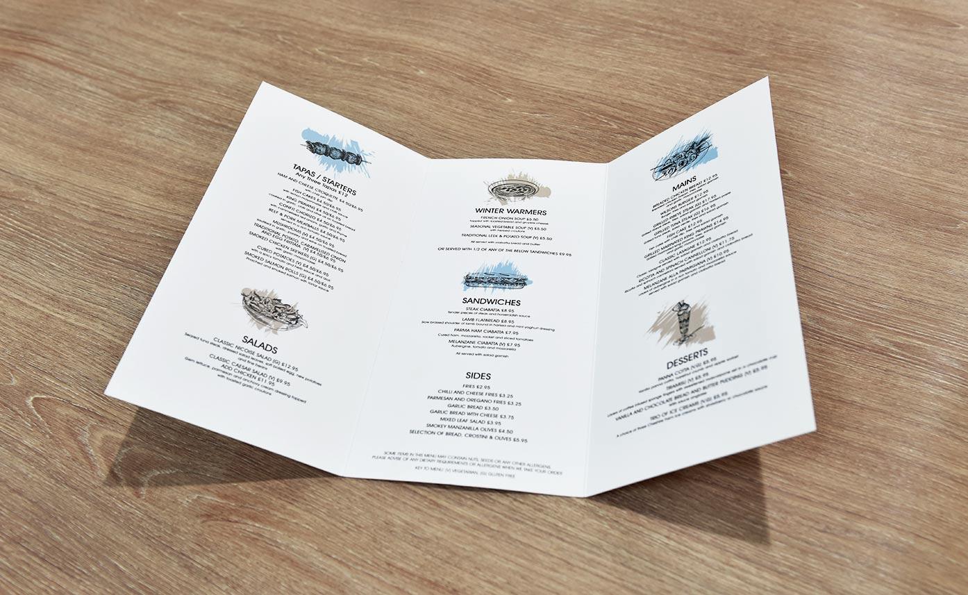 Wilsons Oswestry Menu - Printed menus