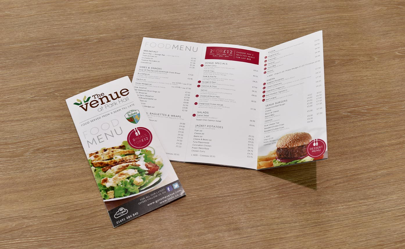 The Venue Oswestry Food Menu - Printed Menus