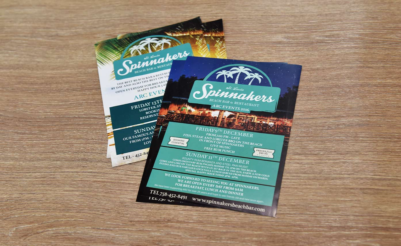 Spinnakers St Lucia Event Flyers - Promo print