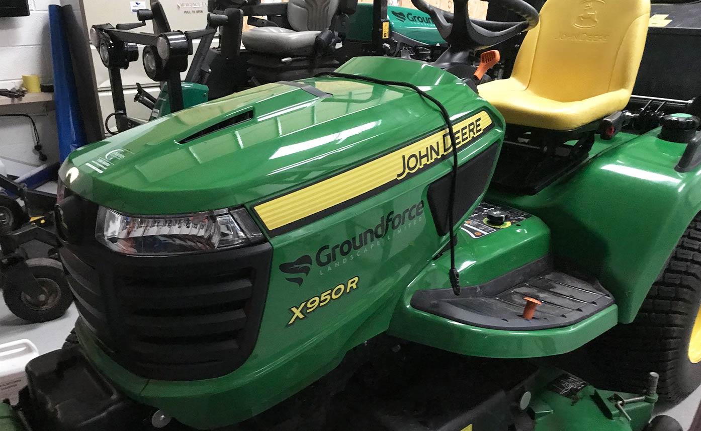Groundforce Landscaping John Deere Lawn Mower X950R decals