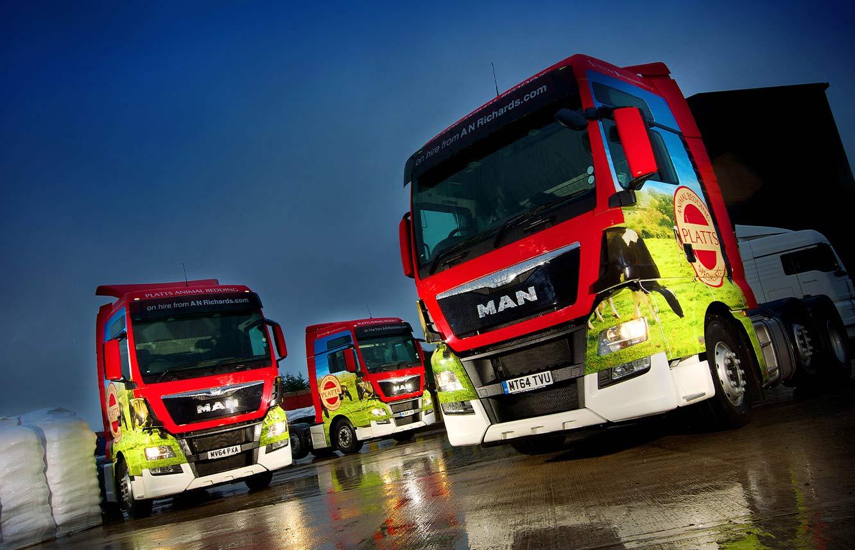 HGV Graphics to Platts Animal Bedding MAN trucks