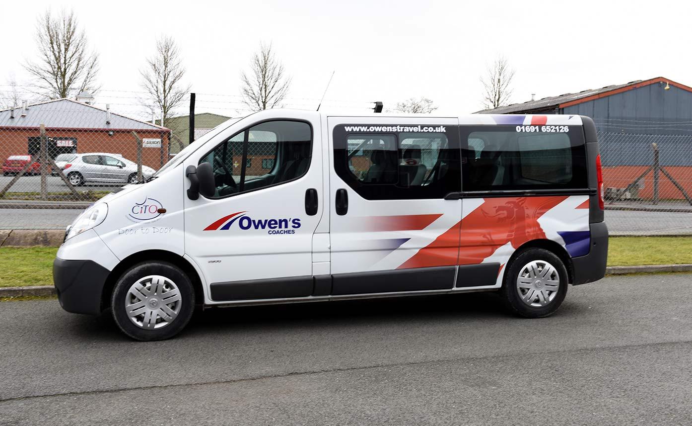 Owens Coaches Oswestry White Minibus Wrap