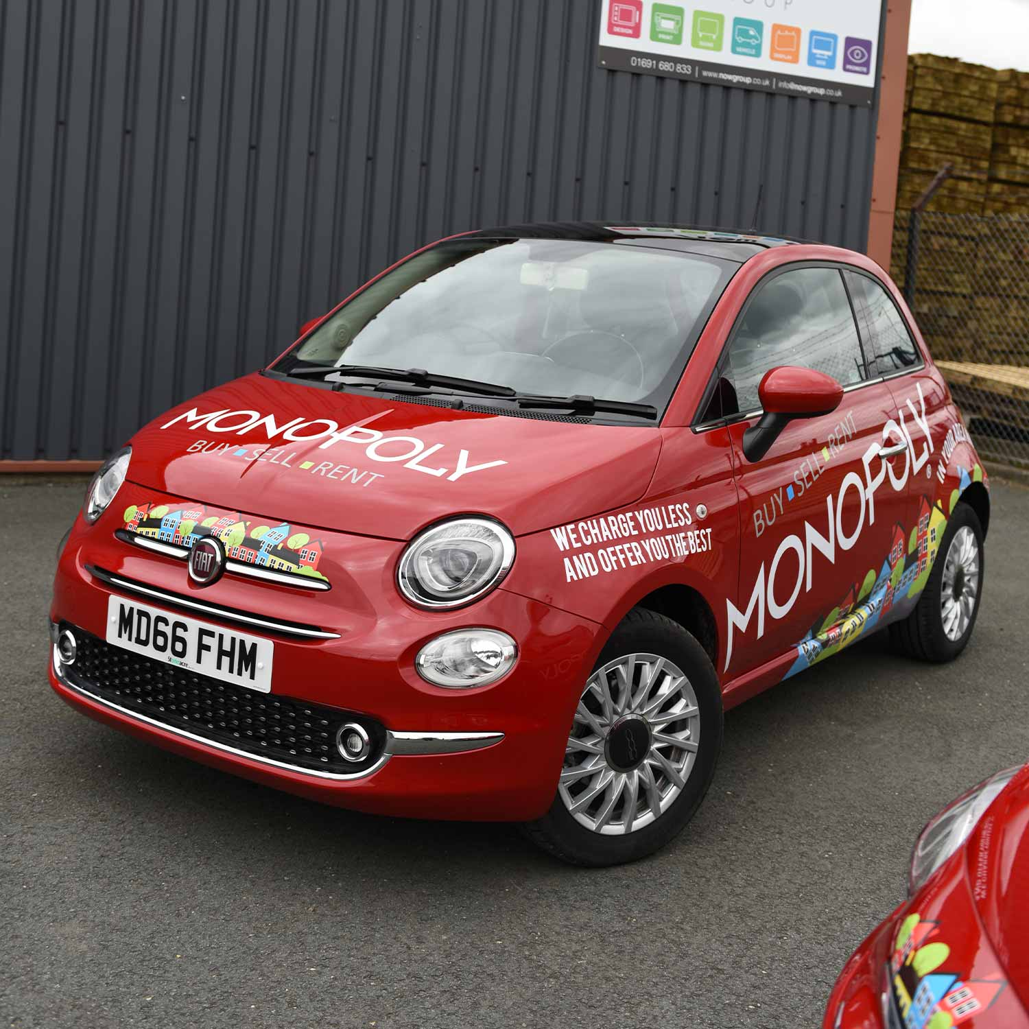 Monopoly Estate Agents Vehicle Wrap - Vehicle Graphics to Red Fiat