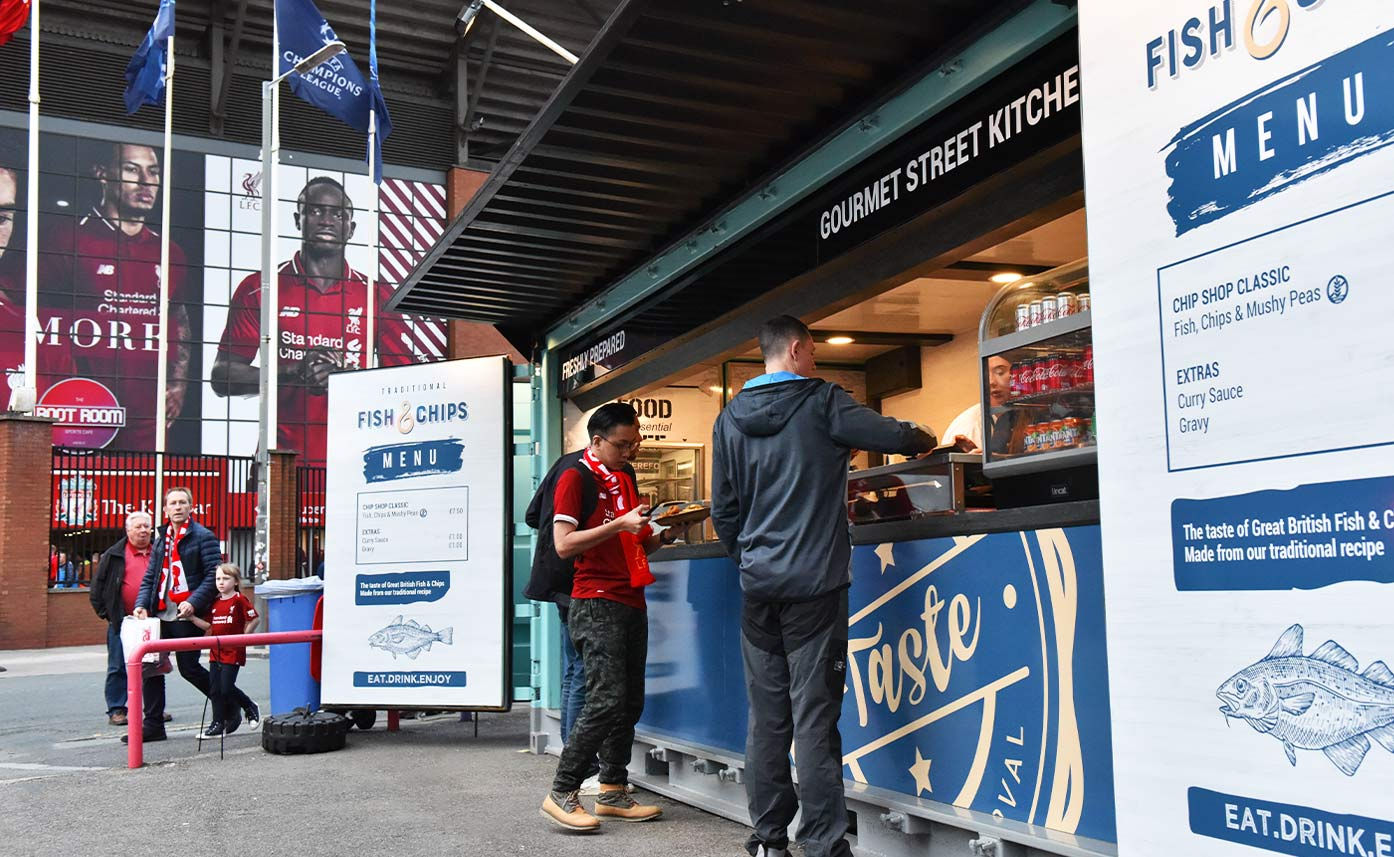 Liverpool FC Fish and Chips Kiosk - Anfield Stadium