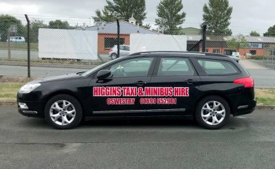 Higgins Taxi and Minibus hire - taxi vehicle graphics