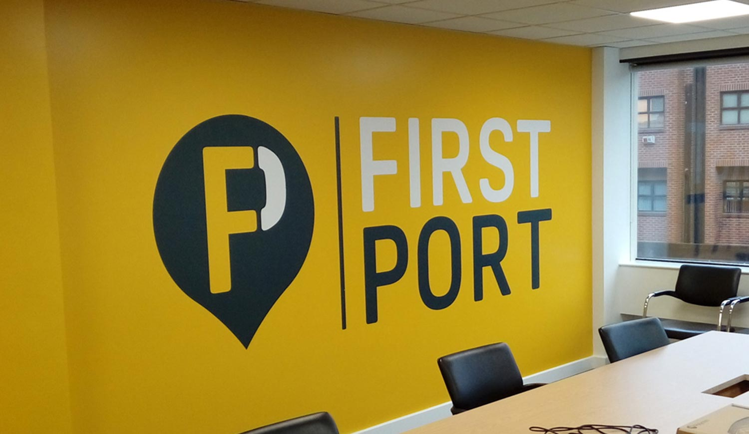 Logo Wall Print in Office - Boarding Room Wall Graphics