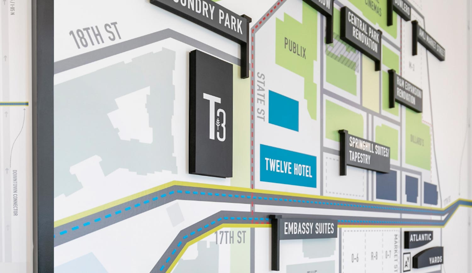 Informative Wall Graphics - Printed Map of City Wall Mural