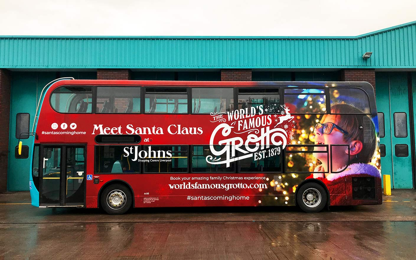 Double decker bus wrap arriva bus Liverpool famous grotto