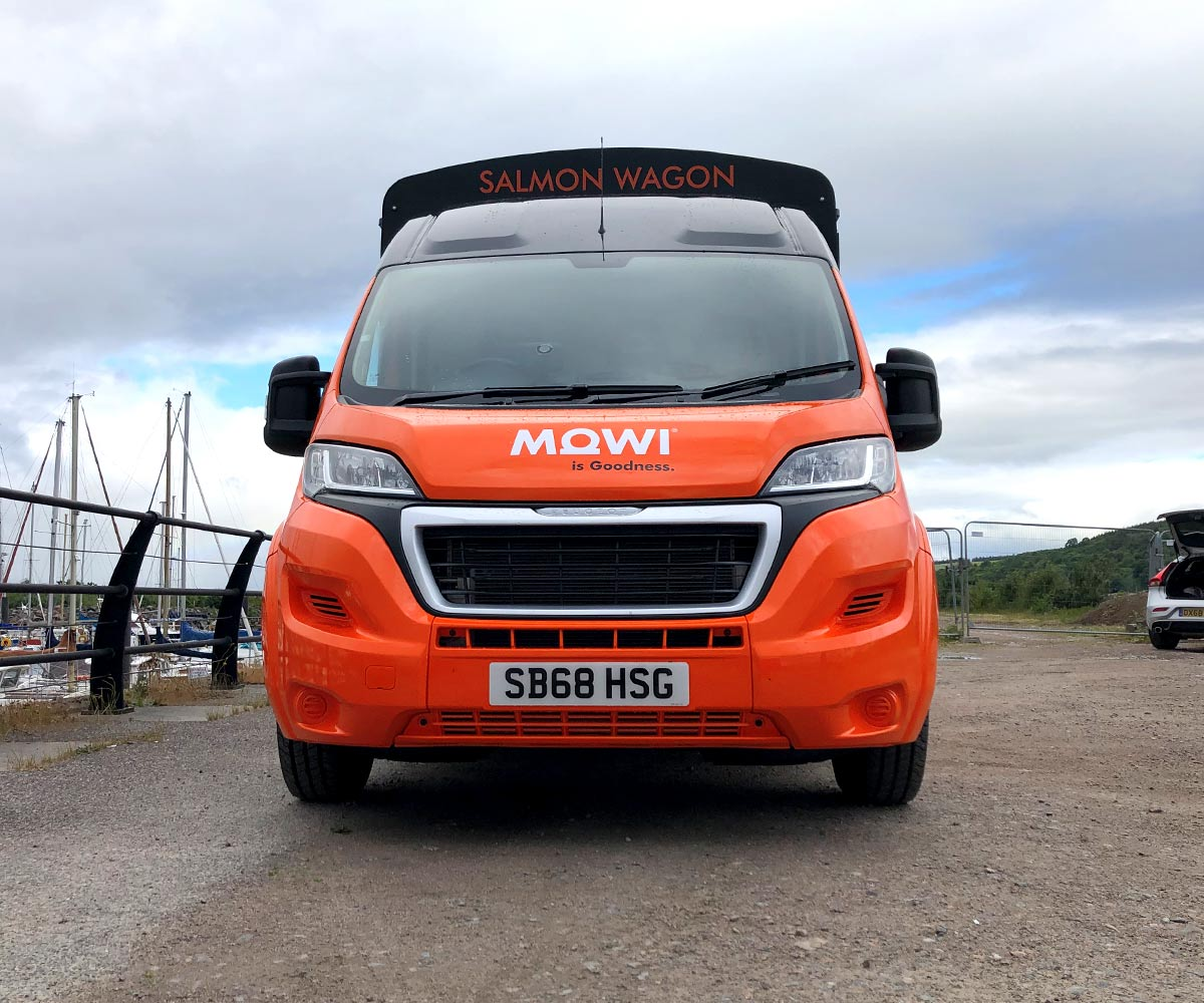 Front View of MOWI Scotland Salmon Wagon Catering Truck - Modern Catering Truck
